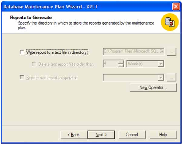 Create a database maintenance plan from scratch